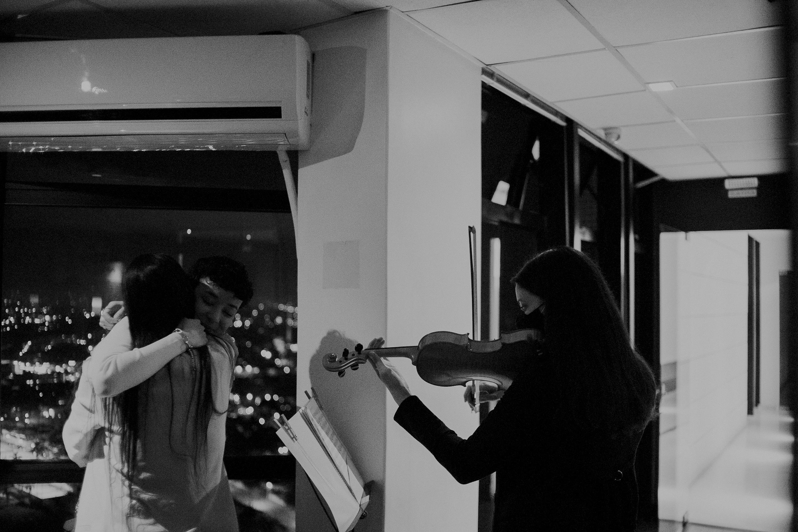 Pedido de casamento com violino